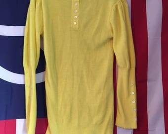 Vintage Yellow Puff Sleeve Sweater