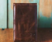 Personalized Handmade Leather Golf Scorecard Holder / Yardage Book in Vintage Bourbon golf gifts for men