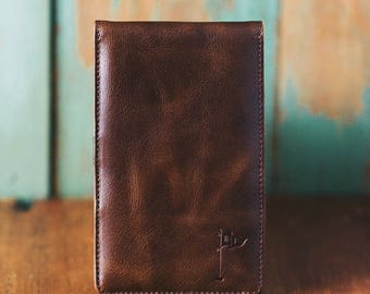 Personalized Handmade Leather Golf Scorecard Holder Yardage Book In Vintage Bourbon Gifts For Men