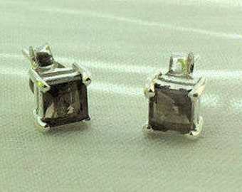 Warm and Rich, Square Smoky Quartz Silver Stud Earrings