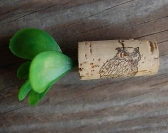 Botanical Wine Cork Magnet Succulent on Owl Wine Cork
