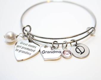 new grandma bracelet, new grandma jewelry, new grandma bangle, new grandma gift, gift for new grandma new, new grandma charm bracelet