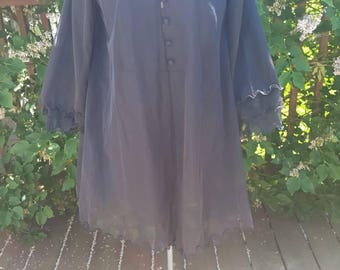 1960s Black Peignoir with Tiered Sleeves