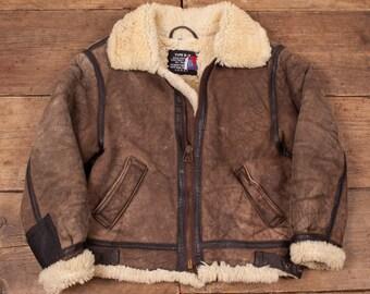 "Mens Vintage Schott Bros B3 Sheepskin Shearling Leather Jacket Brown S 36"" R5061"