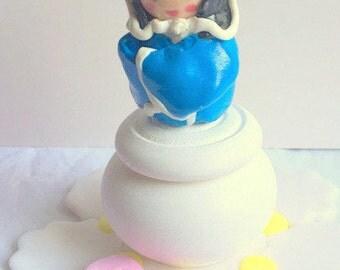Paste fimo / gift tooth/box/wood/kawaii/blue/idea/fact box hand/Japan/kokeshi/geisha/custom/deco room girl / box jewelry