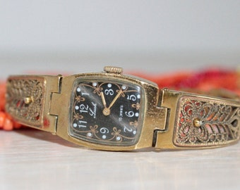 Soviet Womens watch  Luch Womens watch vintage Russian watch Luch Mechanical watch gold color watch   Womens gift