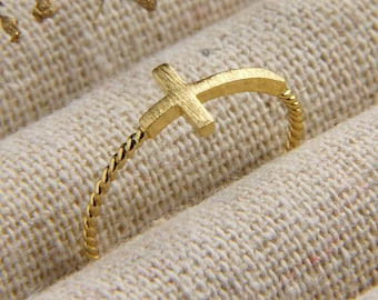 Sideways Cross Ring - Easter Gift - Baptism Gift - Confirmation Gift - Cross Ring - Gold Ring - Minimalist Ring - Christian Ring