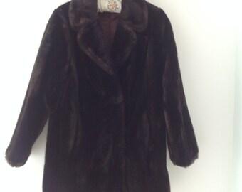 Brown faux fur coat, vintage faux fur jacket, vegan fur jacket, women's jacket, faux fur jacket, 80's jacket, evening jacket,  faux fur coat