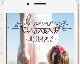 Baby Shower Custom Snapchat Geofilter Personalized Geo Filter with Customized Name / Welcoming Baby Gift for Her / Party Maternity Photo