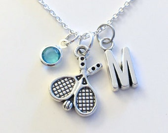 Tennis Racket Necklace, Racket Player's Jewelry, Silver Charm Squash Initial Birthstone birthday Gift Present Long Short Chain Women Girl