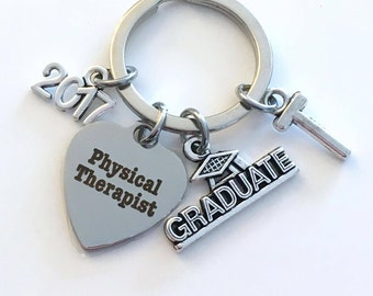Physical Therapist Graduation Gift, PT Keychain for Therapy Student 2017 2018, Key Chain Grad Keyring with Initial letter Him Her women Men