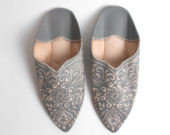 Decorative Moroccan Babouche Slippers, Grey