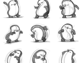 "8X10"" Dancing Penguin Sketches, Black and white Print, Signed by the artist, Will Terry"