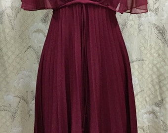 Vintage 1970s Burgandy Party Dress With Pleated Skirt and Chiffon Sleeves