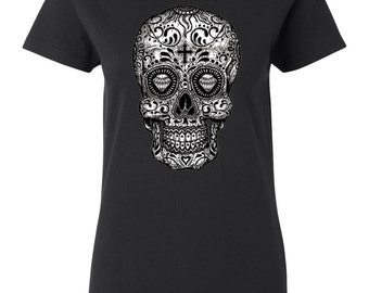 Sugar Skull Black & White Women's T-Shirt Cool Fashion Day Of The Dead Dia De Los Muertos Gothic T-Shirts