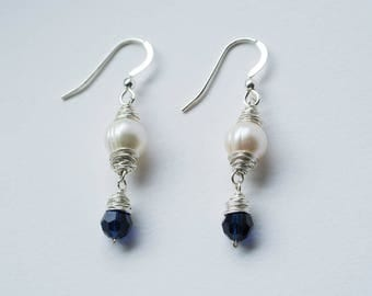 Silver Wrapped Pearl Drop Earrings - Ivory White Freshwater Pearl Earrings Wire Wrapped in Fine Silver with Indigo Blue Swarovski Crystals