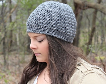 Grey Beanie, Grey Hat, Grey Crochet Beanie, Grey Crochet Hat, Grey Women's Hat, Grey Winter Hat, Light Grey Hat, THE ACADIA