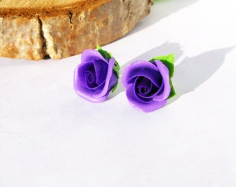 Stud Earrings Purple Roses handmade polymer clay Floral jewelry Roses wedding Purple jewelry Earrings bridesmaid Gift earrings purple roses