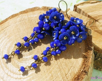 Royal blue Long earrings Blue cluster earrings Prom long earrings Dark blue flowers earrings Royal blue jewelry Long blue unique earrings