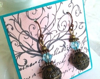 Bronze filigree and blue crystal earrings