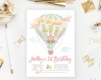 Oh The Places She'll Go Hot Air Balloon Birthday Invitation Balloon Party Balloon Invitation Printable First Birthday Photo Mint Blue Pink