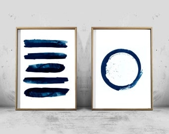 Blue Abstract Watercolor Prints Set of Two Indigo Navy Wall art Stripes Circle Minimalist Art Brushstrokes Scandinavian Posters Large Prints