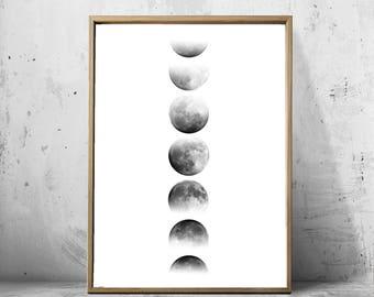 Moon Phase Print Minimalist Poster Black and White Wall Art Geometric Print Kids Decor Large Printable Poster Monochrome Night Sky Astronomy