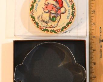 "Vintage FOX RUN CHRISTMAS Santa Claus Jumbo Cookie Cutter | In Box 1980s  7.25"" x 5.25"" x 1"" Tin"