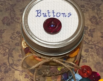 Button Jar, Mason Jar Decor, Gift for Her, Cross Stitch Art, Jar Topper, Vintage Style Decor, Mason Jar Lid