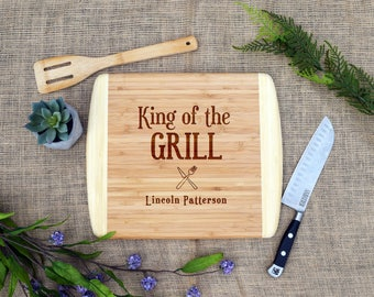 King of the Grill Custom Cutting Board, Personalized, BBQ, Grill Master, Bamboo, Engraved, Father's Day, Gift, Present, Dad Birthday, Father
