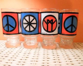 4  Groovy Tumblers, Peace, Freedom Brotherhood Tumblers, Hippie Glasses, 60's  Barware,  Peace Freedom Brotherhood, Highball