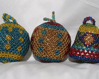 Handmade Beaded Christmas Ornaments Balls Bells Colorful Set of 5