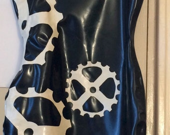 Latex 1920s Steampunk patterned dress - size 40