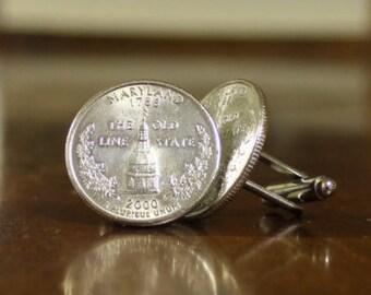 Maryland Cuff Links, Maryland quarter cufflinks, Coin cuffs