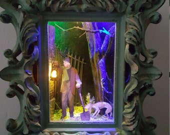 Caretaker - LIGHTED - Haunted Mansion Collection, Disney, Pop Art, 3D, Shadowbox, Original, One-of-a-Kind, Made to order, Handmade