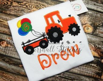 Boy's Tractor Birthday Shirt/ Boy's Farm Birthday Shirt/ Boy's Tractor Party Shirt/ Personalized Tractor Birthday Shirt