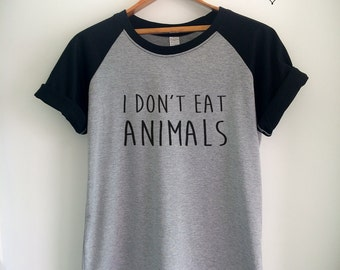 Vegan Shirt Vegan T Shirt Vegan Merch I Don't Eat Animals for Women Girls Men Tumblr Vegetarian Baseball Jersey Top Tee White/Grey