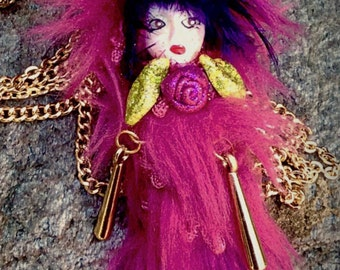 Necklace Doll/ Fringed Doll Necklace/ Ooak Miniature Doll/ Necklace Doll Jewelry / Pink Fantasy Doll/ Doll Charm Necklace