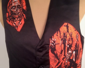 Zombie Vest By Maria B. Vintage Vest & Zombie Living Dead Fabric. Size Small.