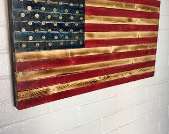 Red White and Blue Rustic American flag