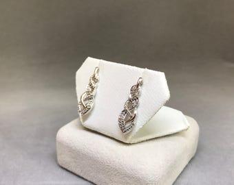 Sterling Silver Diamond (0.1 ct) Earrings, Appraised 408 USD