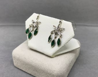 14K White Gold Natural Emerald (1.08 ct) Earrings, Appraised  1,200 CAD