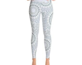 Yoga Pants Leggings - Light Blue Fitness Leggings, Wide Waistband Aquamarine Yoga Tights, Exercise Pants
