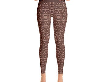Brown Leggings - Abstract Art Leggings in Shades of Brown Stretchy Yoga Pants, Workout Clothes for Women
