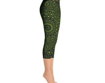 Capris - Chartreuse Yoga Pants, Black Leggings with Green Mandala Designs for Women, Printed Leggings, Pattern Yoga Tights