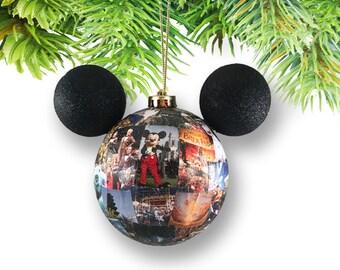 Large Mickey-shaped Walt DisneyWorld Photo Memory Ornament-Magic Kingdom (Add Personalization)
