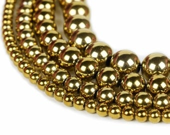 "Gold Hematite Beads 4mm 6mm 8mm 10mm Loose Gemstone Round 15.5"" Full Strand Wholesale"