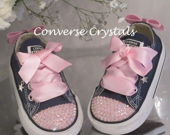 Baby Toddler infant Toes and Bows Custom Crystal *Bling* Converse Sizes 2-10