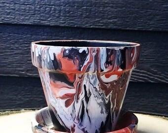 Black, White, and Orange Hand-Painted Pot//Hand-Painted Terracotta Pot//Black and Orange Art