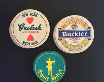 Vintage Pub Beer and Ale Coasters - Group of 18 - Grolsch, Buckler, and Home Bitter
